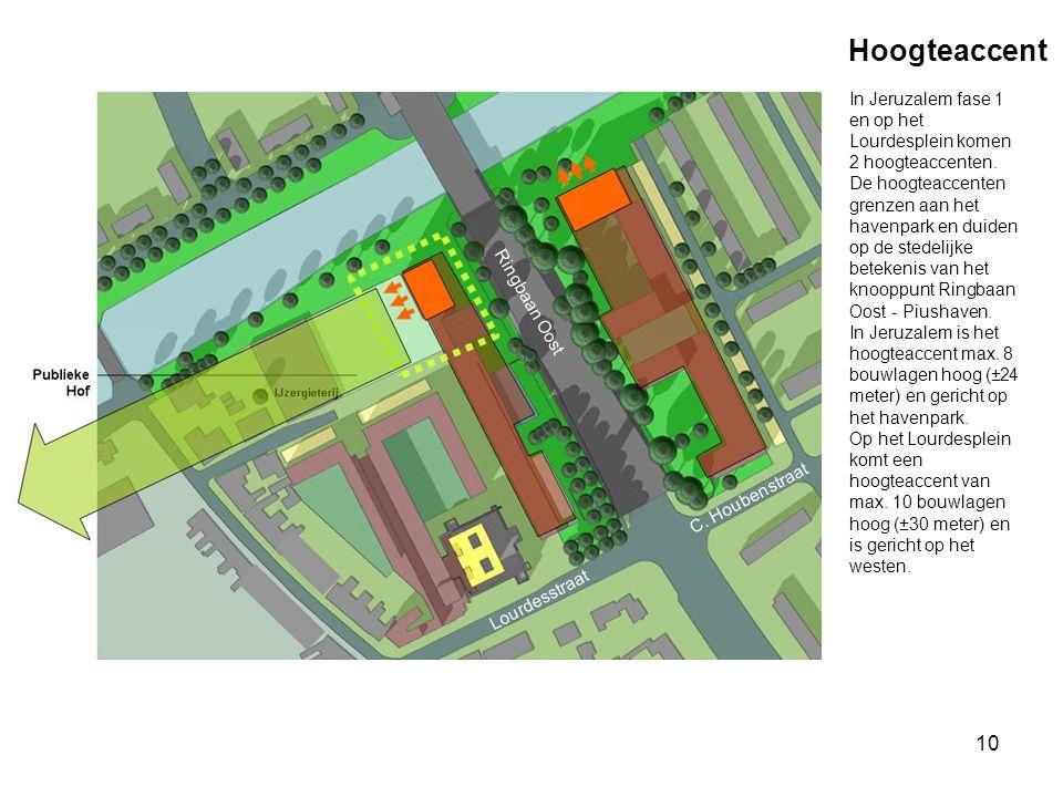 10 Hoogteaccent Ringbaan Oost C. Houbenstraat Lourdesstraat In Jeruzalem fase 1 en op het Lourdesplein komen 2 hoogteaccenten. De hoogteaccenten grenz