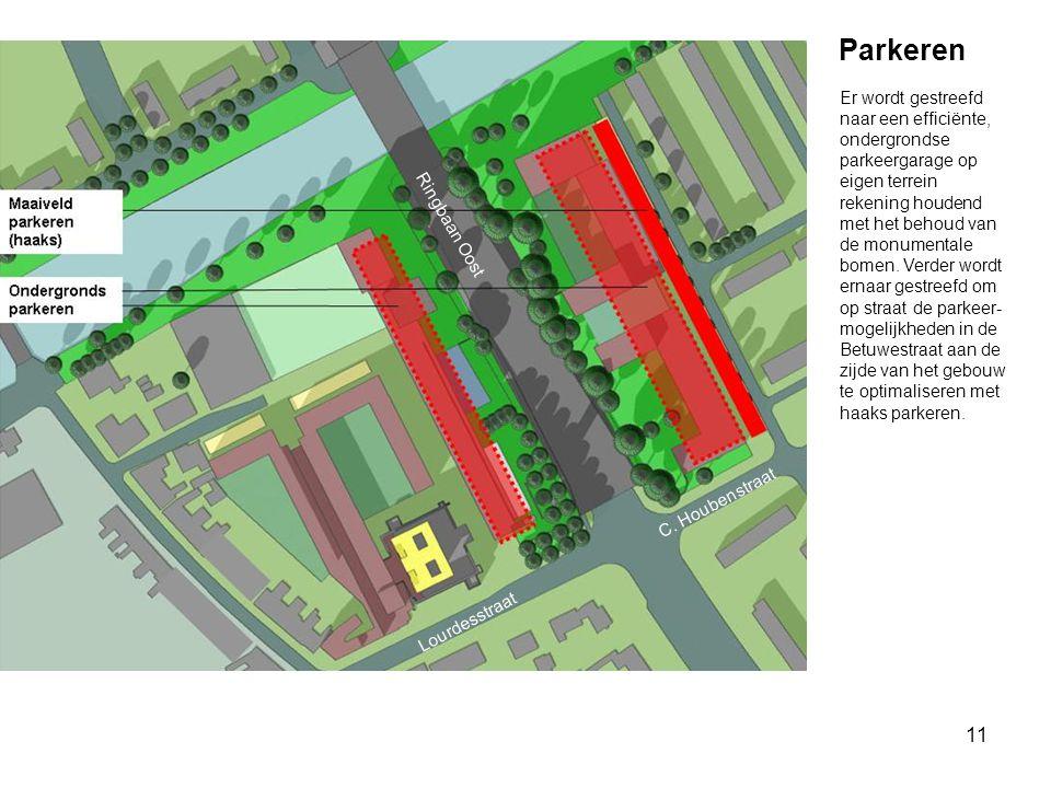11 Parkeren Ringbaan Oost C. Houbenstraat Lourdesstraat Er wordt gestreefd naar een efficiënte, ondergrondse parkeergarage op eigen terrein rekening h