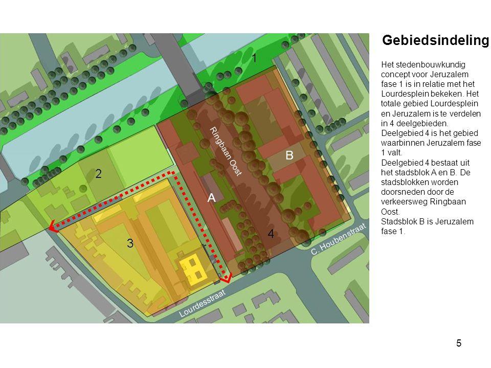 5 Gebiedsindeling Ringbaan Oost C. Houbenstraat Lourdesstraat Het stedenbouwkundig concept voor Jeruzalem fase 1 is in relatie met het Lourdesplein be