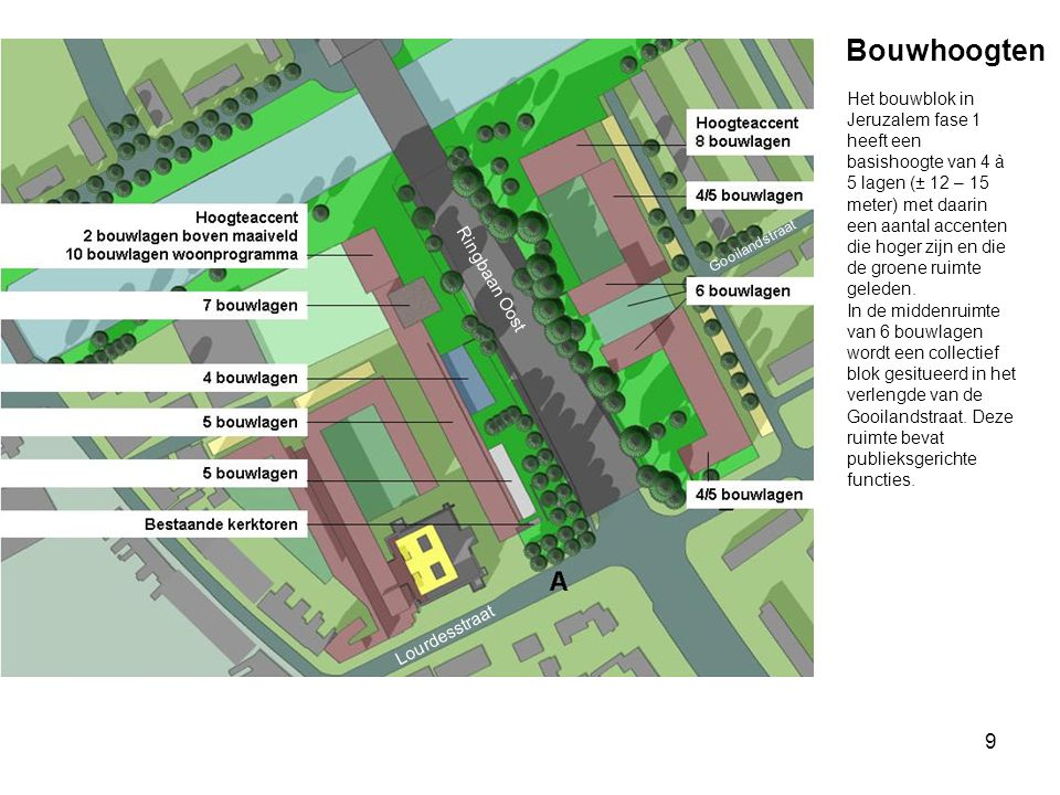 9 Bouwhoogten Ringbaan Oost Lourdesstraat Het bouwblok in Jeruzalem fase 1 heeft een basishoogte van 4 à 5 lagen (± 12 – 15 meter) met daarin een aant