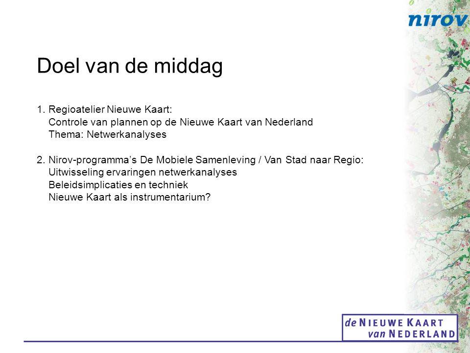 Doel van de middag 1. Regioatelier Nieuwe Kaart: Controle van plannen op de Nieuwe Kaart van Nederland Thema: Netwerkanalyses 2. Nirov-programma's De