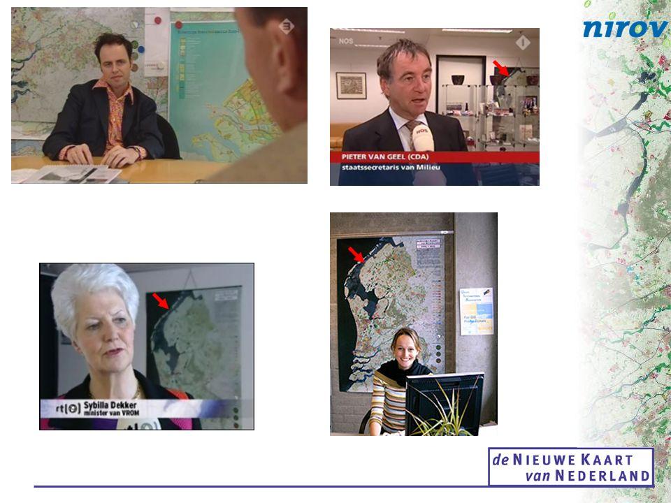 Doelen van de Nieuwe Kaart van Nederland: democratisering van kennis over ruimtelijke plannen stimuleren van regionaal ontwerp en samenhang instrument voor beleidsmonitoring en onderzoek geo-informatie-proeftuin & voortgangsmonitor DURP (Digitale Uitwisseling in Ruimtelijke Processen) Een co-productie van VROM en Nirov en nog 3.000 vakgenoten