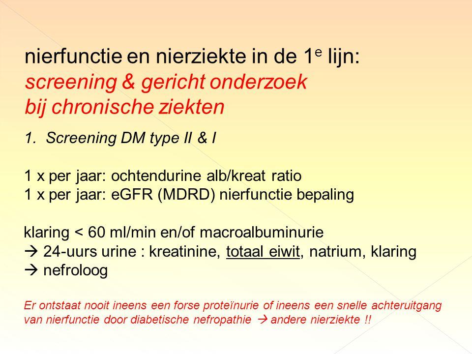 nierfunctie en nierziekte in de 1 e lijn: screening & gericht onderzoek bij chronische ziekten 1.