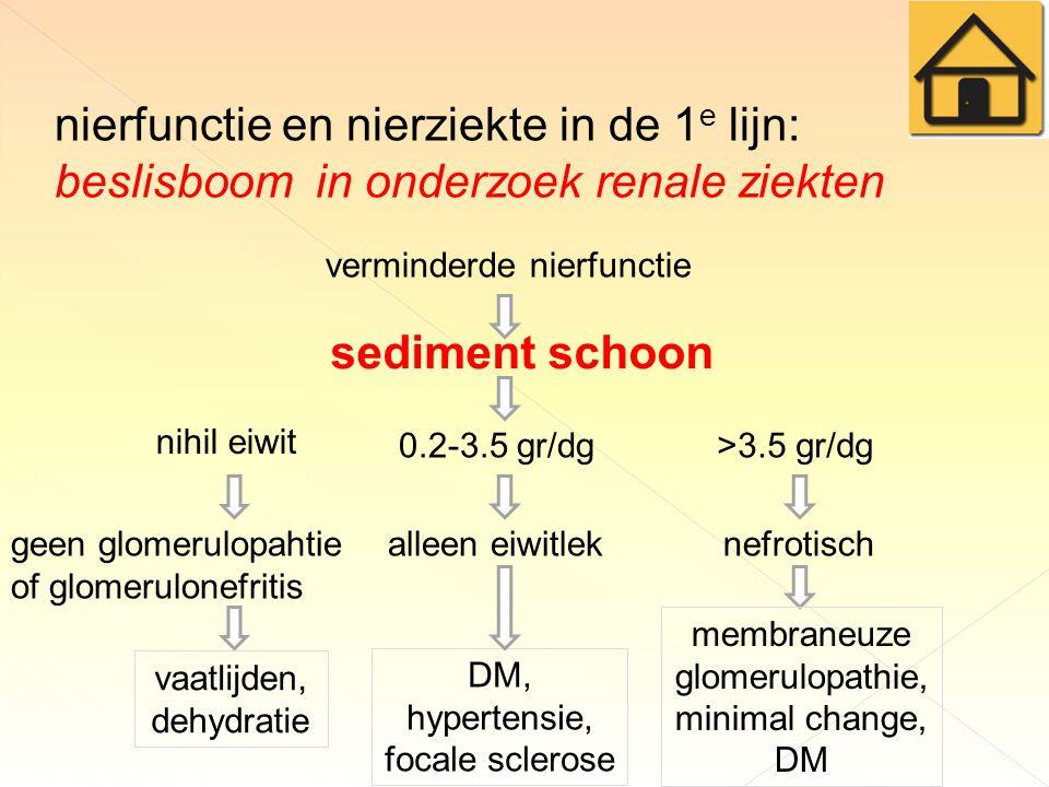 nierfunctie en nierziekte in de 1 e lijn: beslisboom in onderzoek renale ziekten verminderde nierfunctie geen glomerulopahtie of glomerulonefritis sediment schoon nihil eiwit 0.2-3.5 gr/dg>3.5 gr/dg vaatlijden, dehydratie alleen eiwitlek DM, hypertensie, focale sclerose nefrotisch membraneuze glomerulopathie, minimal change, DM