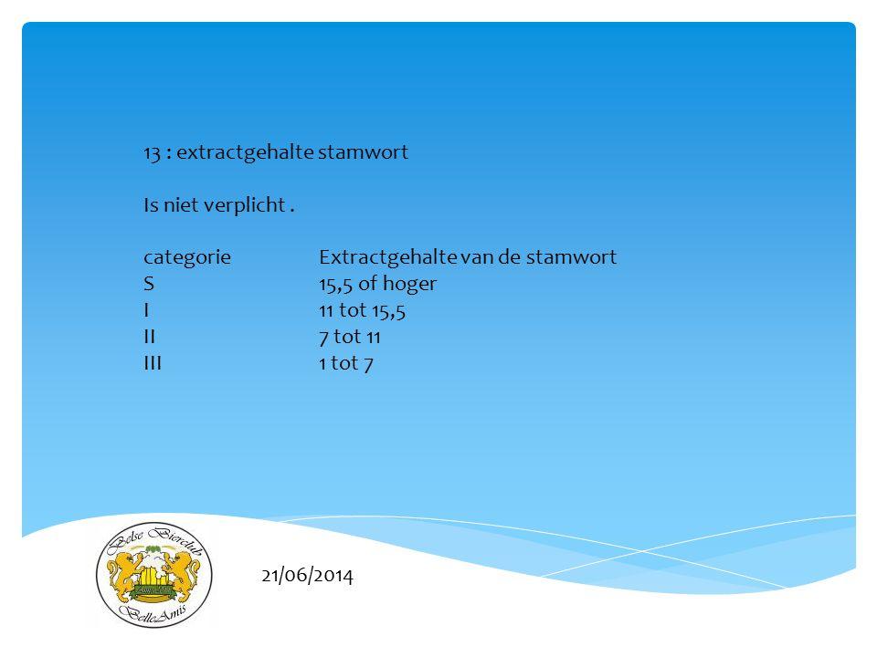 21/06/2014 13 : extractgehalte stamwort Is niet verplicht. categorie Extractgehalte van de stamwort S 15,5 of hoger I 11 tot 15,5 II 7 tot 11 III 1 to