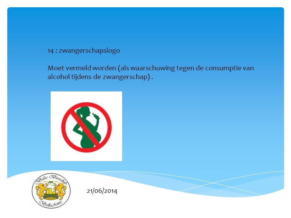 21/06/2014 14 : zwangerschapslogo Moet vermeld worden (als waarschuwing tegen de consumptie van alcohol tijdens de zwangerschap).