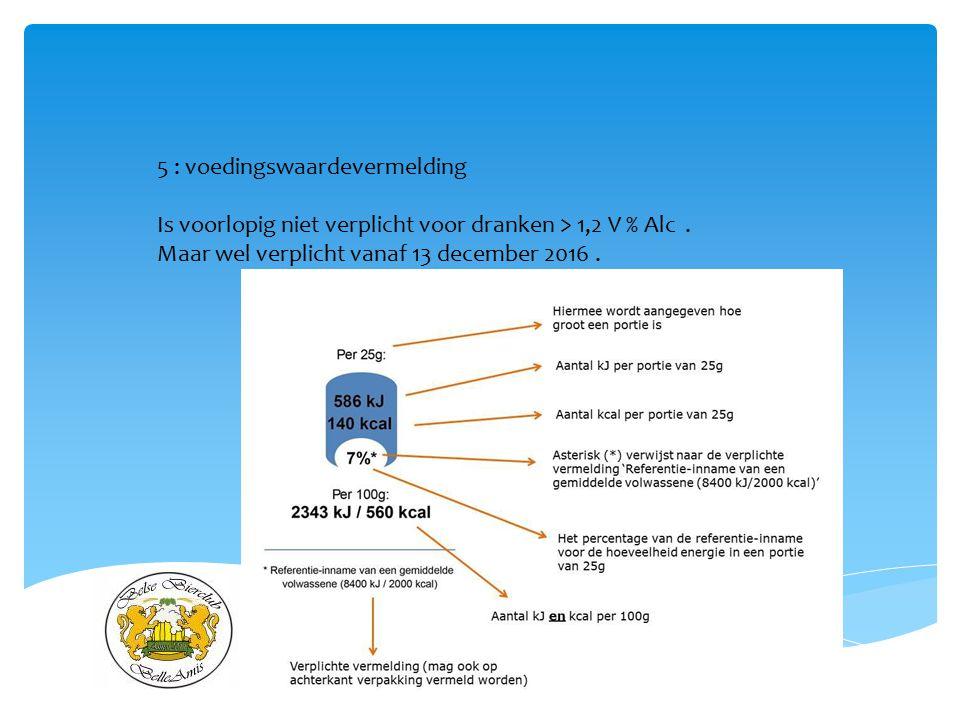 21/06/2014 5 : voedingswaardevermelding Is voorlopig niet verplicht voor dranken > 1,2 V % Alc. Maar wel verplicht vanaf 13 december 2016.