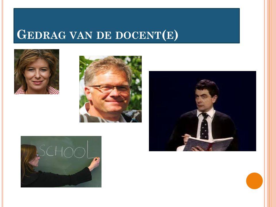 G EDRAG VAN DE DOCENT ( E )