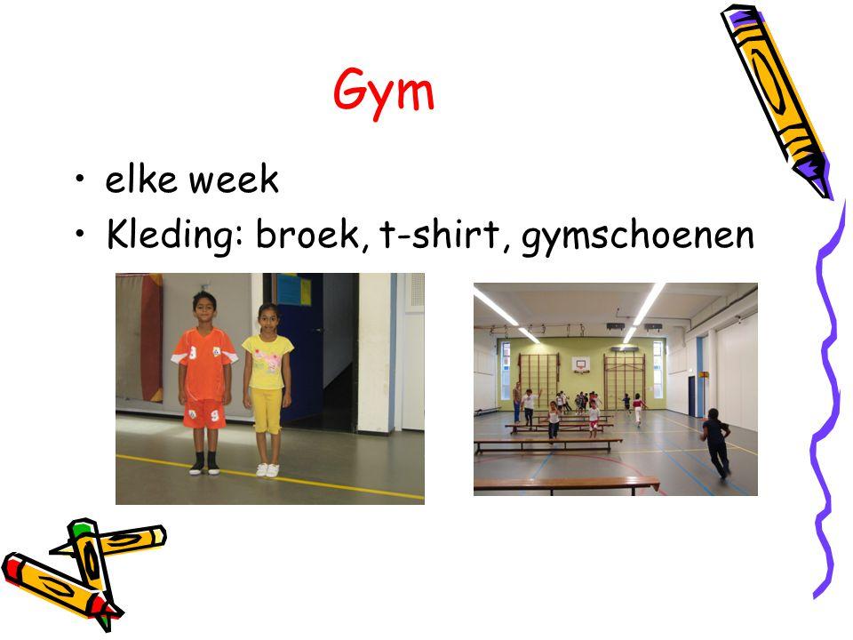 Gym elke week Kleding: broek, t-shirt, gymschoenen