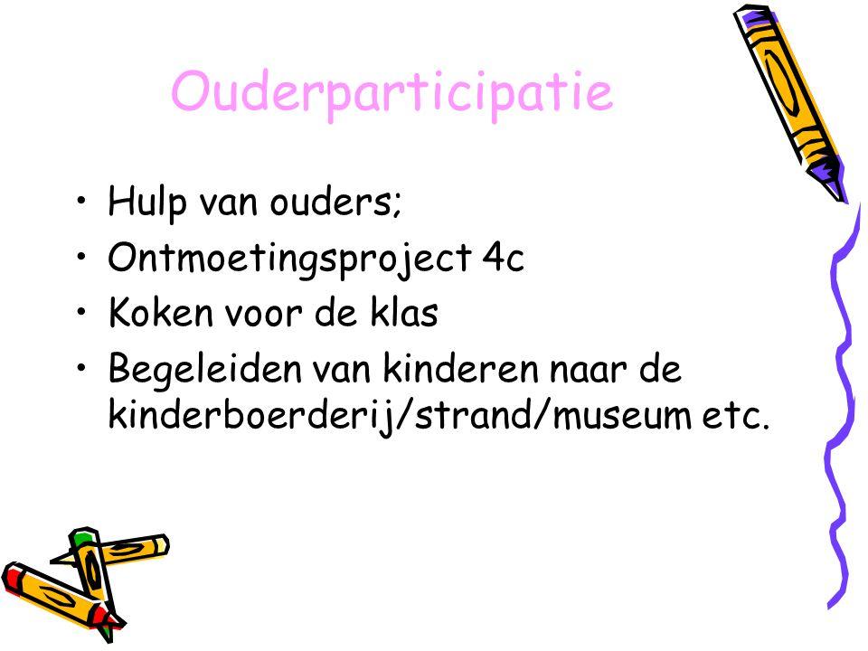 Ouderparticipatie Hulp van ouders; Ontmoetingsproject 4c Koken voor de klas Begeleiden van kinderen naar de kinderboerderij/strand/museum etc.