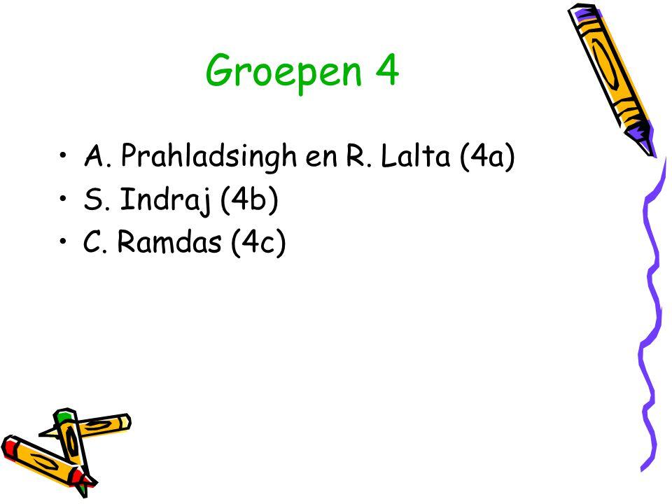 Groepen 4 A. Prahladsingh en R. Lalta (4a) S. Indraj (4b) C. Ramdas (4c)