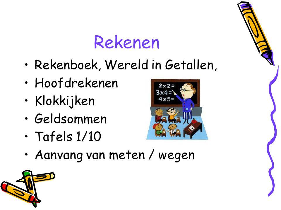 Rekenen Rekenboek, Wereld in Getallen, Hoofdrekenen Klokkijken Geldsommen Tafels 1/10 Aanvang van meten / wegen