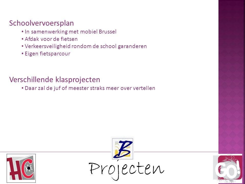 Projecten Schoolvervoersplan In samenwerking met mobiel Brussel Afdak voor de fietsen Verkeersveiligheid rondom de school garanderen Eigen fietsparcou
