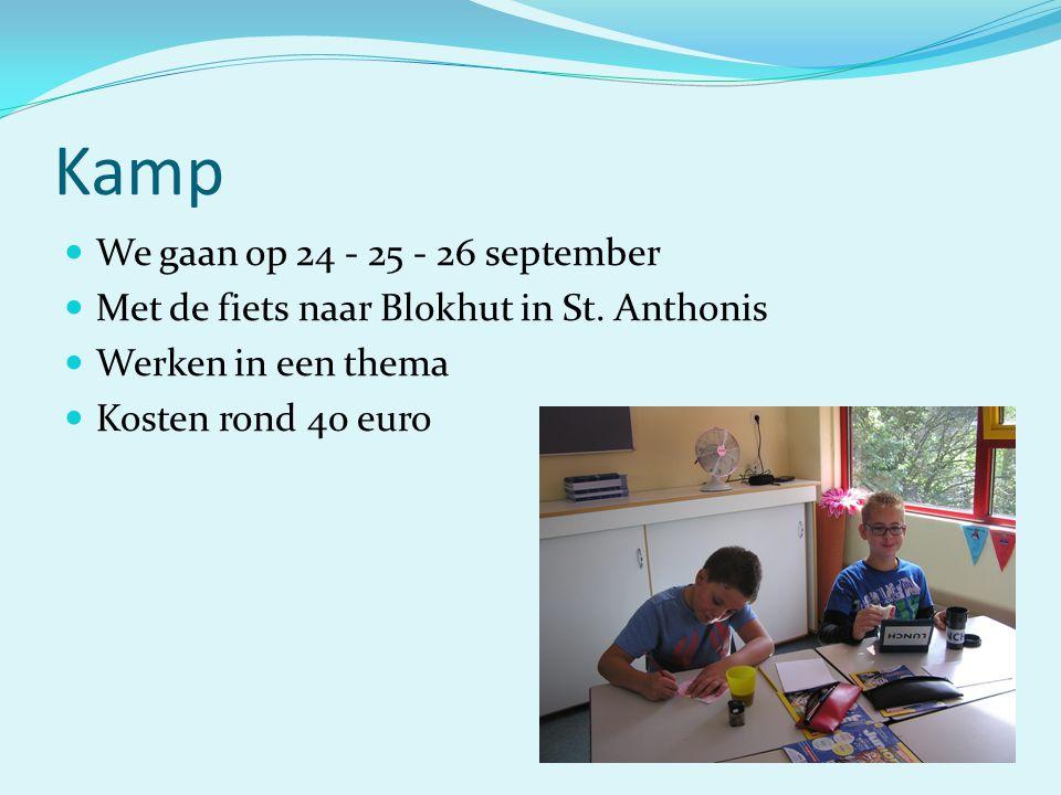 Kamp We gaan op 24 - 25 - 26 september Met de fiets naar Blokhut in St. Anthonis Werken in een thema Kosten rond 40 euro