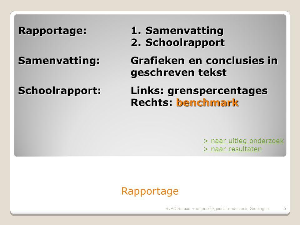 BvPO Bureau voor praktijkgericht onderzoek, Groningen4 Standaard vragenlijst: Vragenlijst met dezelfde vragen is 2605 keer afgenomen bij 224670 ouders