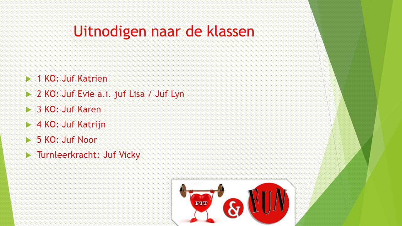 Uitnodigen naar de klassen  1 KO: Juf Katrien  2 KO: Juf Evie a.i.