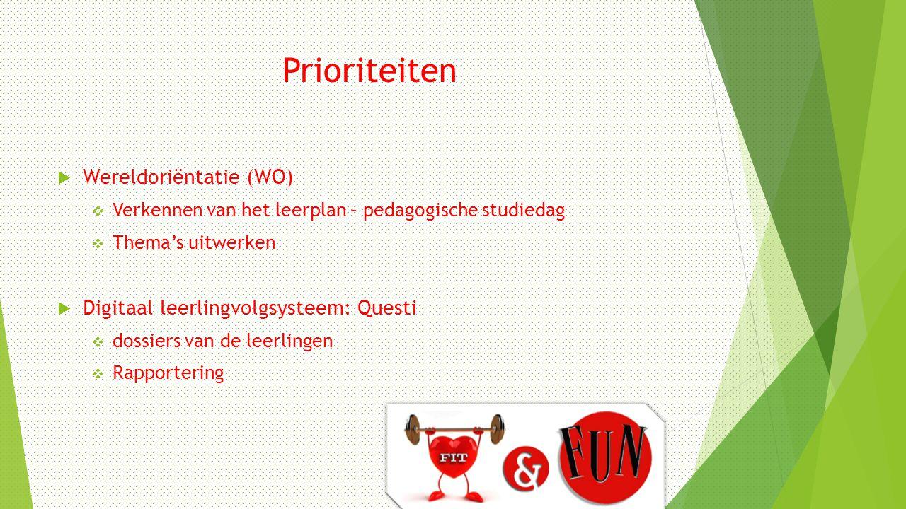 Prioriteiten  Wereldoriëntatie (WO)  Verkennen van het leerplan – pedagogische studiedag  Thema's uitwerken  Digitaal leerlingvolgsysteem: Questi  dossiers van de leerlingen  Rapportering