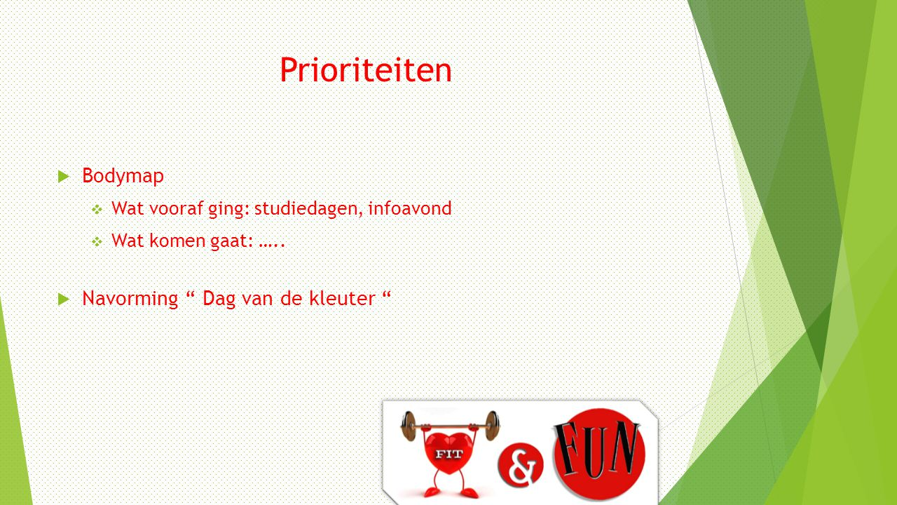 """Prioriteiten  Bodymap  Wat vooraf ging: studiedagen, infoavond  Wat komen gaat: …..  Navorming """" Dag van de kleuter """""""