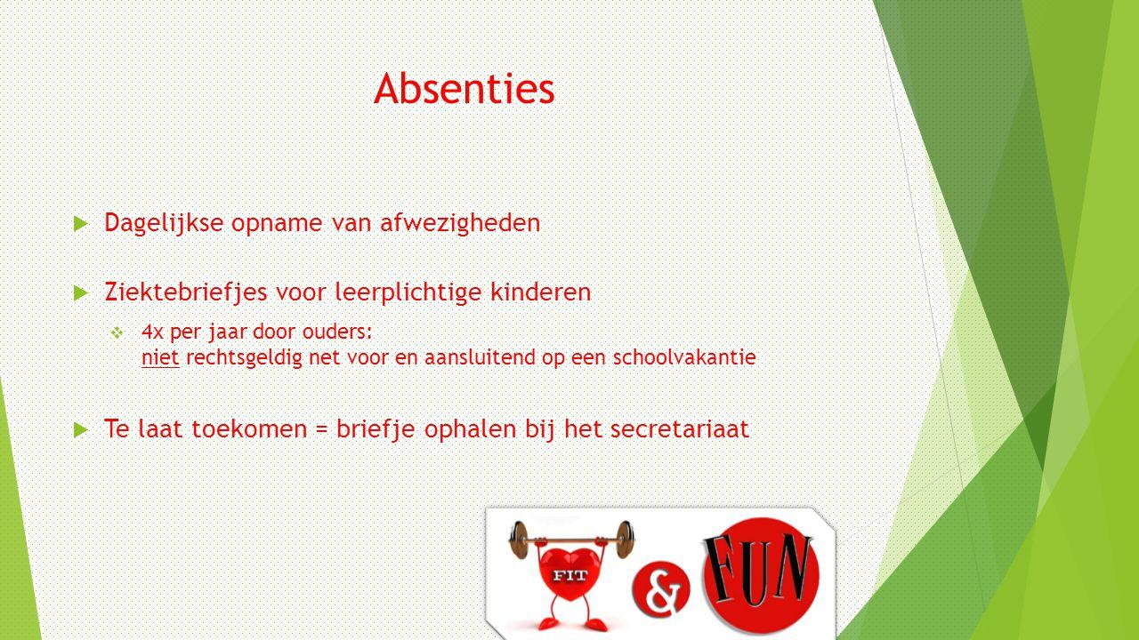 Absenties  Dagelijkse opname van afwezigheden  Ziektebriefjes voor leerplichtige kinderen  4x per jaar door ouders: niet rechtsgeldig net voor en a