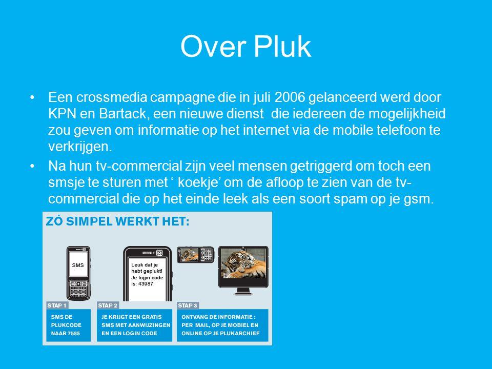 Over Pluk Een crossmedia campagne die in juli 2006 gelanceerd werd door KPN en Bartack, een nieuwe dienst die iedereen de mogelijkheid zou geven om informatie op het internet via de mobile telefoon te verkrijgen.