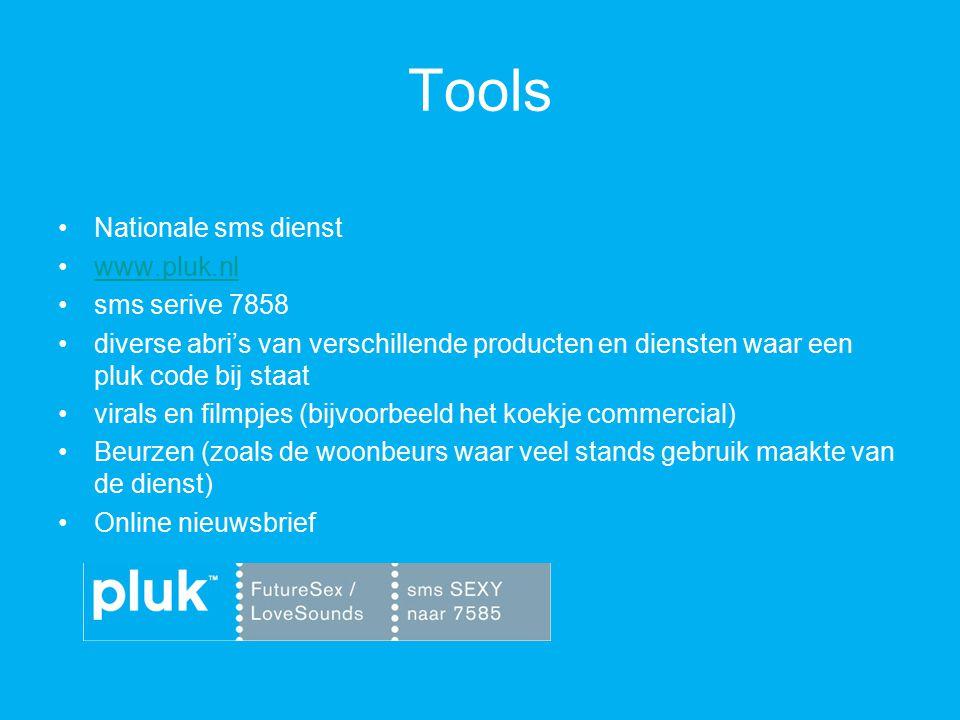 Tools Nationale sms dienst www.pluk.nl sms serive 7858 diverse abri's van verschillende producten en diensten waar een pluk code bij staat virals en filmpjes (bijvoorbeeld het koekje commercial) Beurzen (zoals de woonbeurs waar veel stands gebruik maakte van de dienst) Online nieuwsbrief