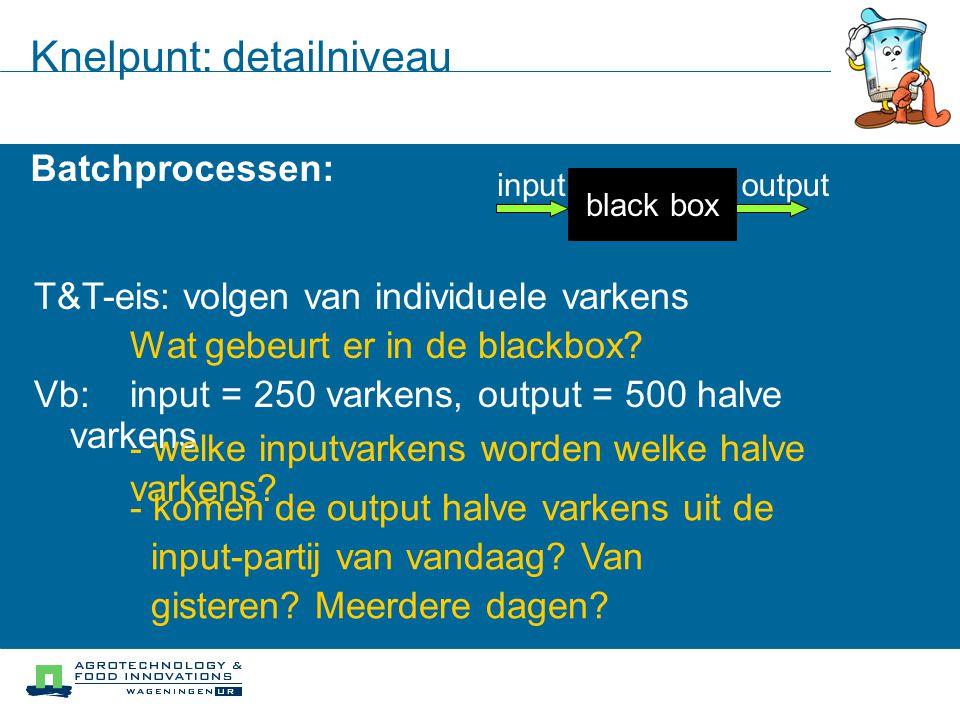 Knelpunt: detailniveau Batchprocessen: black box inputoutput T&T-eis: volgen van individuele varkens Wat gebeurt er in de blackbox? Vb: input = 250 va