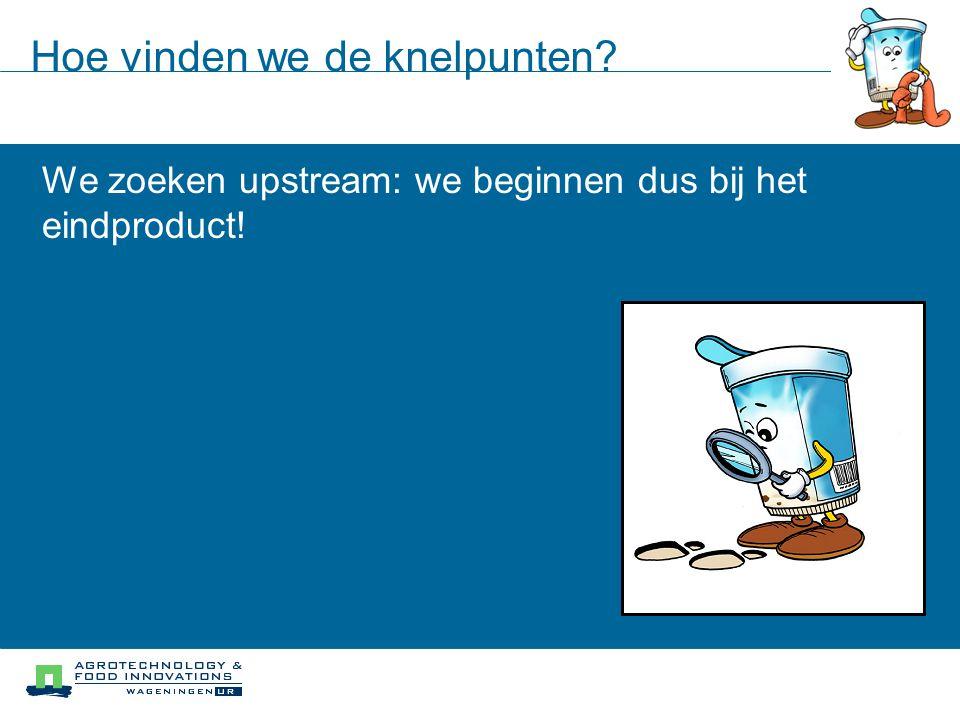Hoe vinden we de knelpunten? We zoeken upstream: we beginnen dus bij het eindproduct!