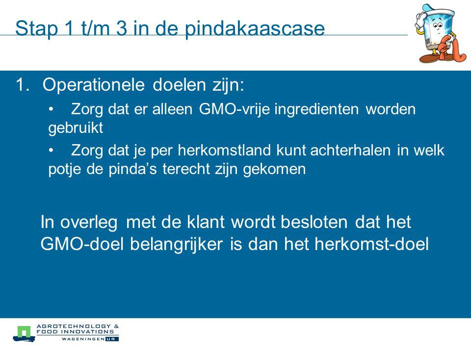 Stap 1 t/m 3 in de pindakaascase 1.Operationele doelen zijn: Zorg dat er alleen GMO-vrije ingredienten worden gebruikt Zorg dat je per herkomstland ku