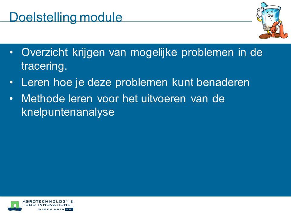 Doelstelling module Overzicht krijgen van mogelijke problemen in de tracering. Leren hoe je deze problemen kunt benaderen Methode leren voor het uitvo