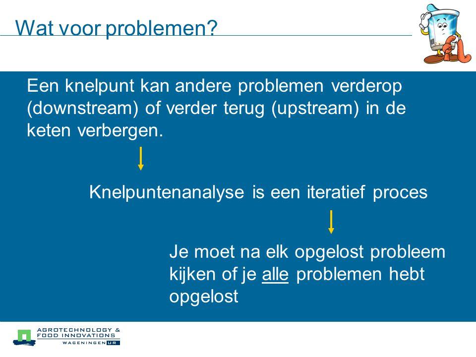 downstream upstream traceringsproblemen voor bepaalde doelen Wat voor problemen? Een knelpunt kan andere problemen verderop (downstream) of verder ter