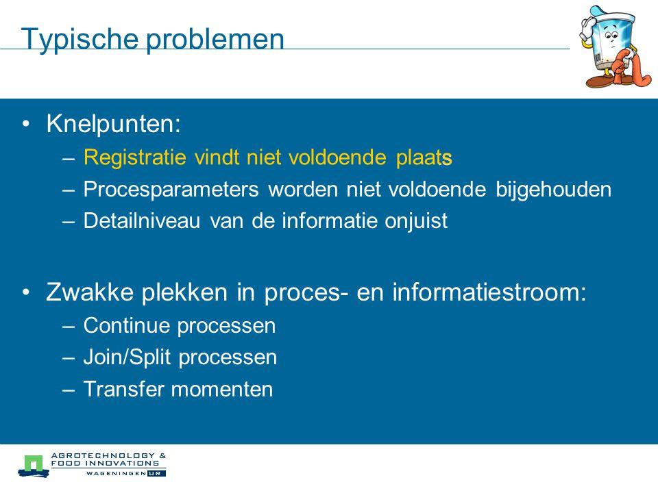 Typische problemen Knelpunten: – Registratie vindt niet voldoende plaats – Procesparameters worden niet voldoende bijgehouden – Detailniveau van de in