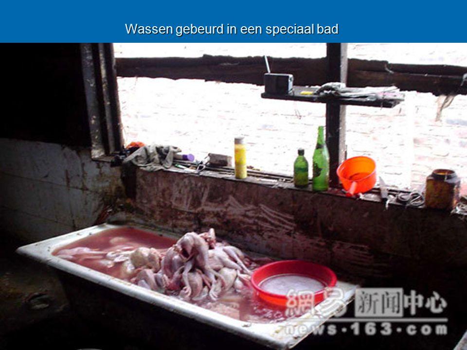 Wassen gebeurd in een speciaal bad