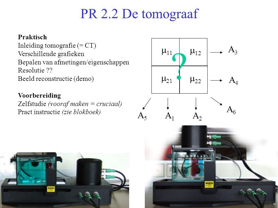 PR 2.2 De tomograaf  11  12    22 A3A3 A4A4 A2A2 A1A1 A6A6 A5A5 .