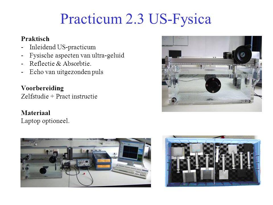 Practicum 2.3 US-Fysica Praktisch -Inleidend US-practicum -Fysische aspecten van ultra-geluid -Reflectie & Absorbtie.