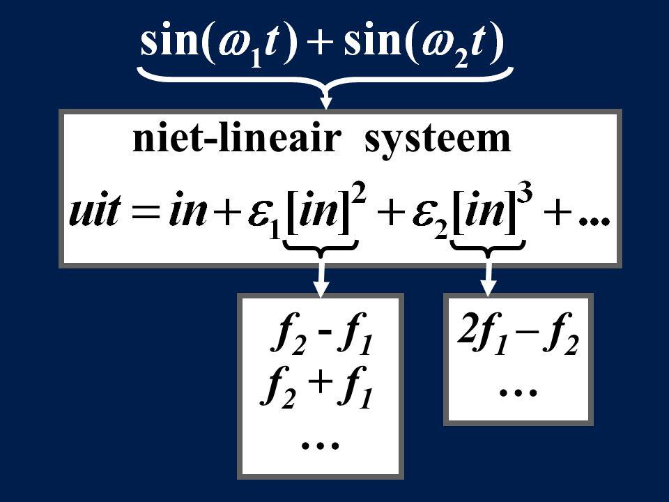 niet-lineair systeem f 2 - f 1 f 2 + f 1 … 2f 1 – f 2 …