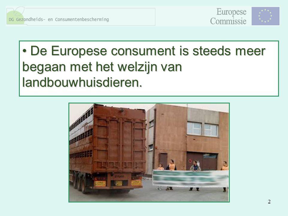 2 De Europese consument is steeds meer begaan met het welzijn van landbouwhuisdieren. De Europese consument is steeds meer begaan met het welzijn van