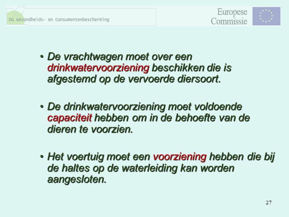 27 De vrachtwagen moet over een drinkwatervoorziening beschikken die is afgestemd op de vervoerde diersoort.De vrachtwagen moet over een drinkwatervoo