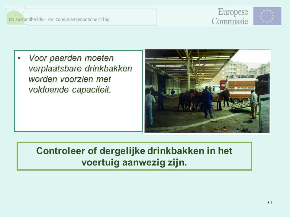 31 Voor paarden moeten verplaatsbare drinkbakken worden voorzien met voldoende capaciteit.Voor paarden moeten verplaatsbare drinkbakken worden voorzie