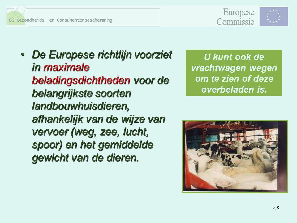 45 De Europese richtlijn voorziet in maximale beladingsdichtheden voor de belangrijkste soorten landbouwhuisdieren, afhankelijk van de wijze van vervo