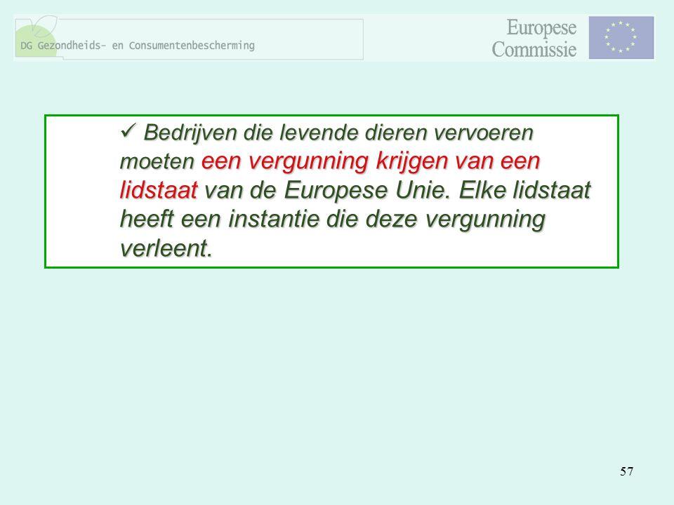 57 Bedrijven die levende dieren vervoeren moeten een vergunning krijgen van een lidstaat van de Europese Unie. Elke lidstaat heeft een instantie die d