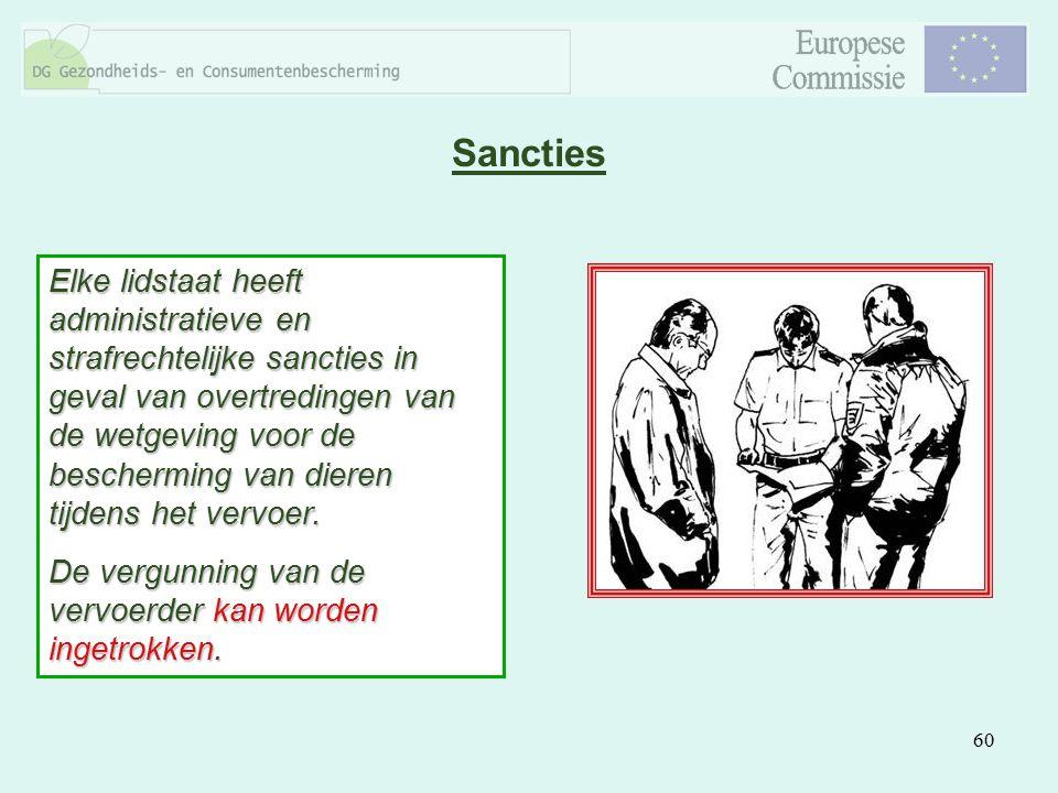 60 Sancties Elke lidstaat heeft administratieve en strafrechtelijke sancties in geval van overtredingen van de wetgeving voor de bescherming van diere