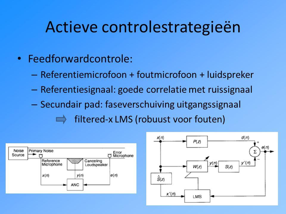 Actieve controlestrategieën Feedforwardcontrole: – Referentiemicrofoon + foutmicrofoon + luidspreker – Referentiesignaal: goede correlatie met ruissignaal – Secundair pad: faseverschuiving uitgangssignaal filtered-x LMS (robuust voor fouten)