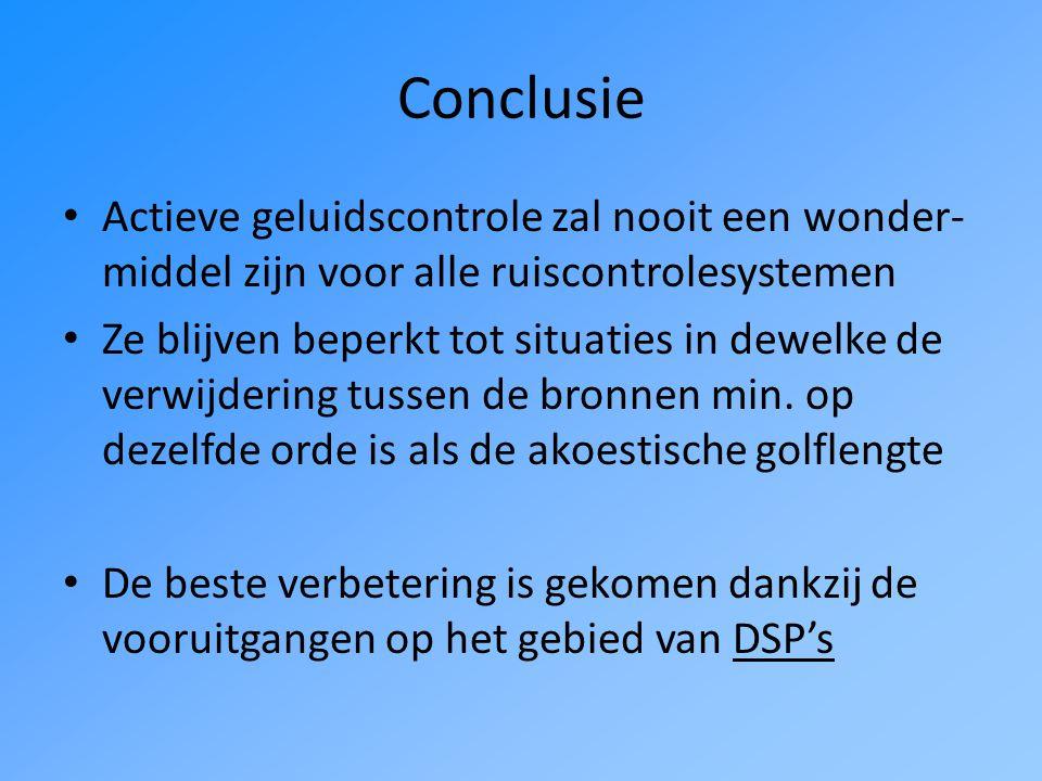 Conclusie Actieve geluidscontrole zal nooit een wonder- middel zijn voor alle ruiscontrolesystemen Ze blijven beperkt tot situaties in dewelke de verwijdering tussen de bronnen min.