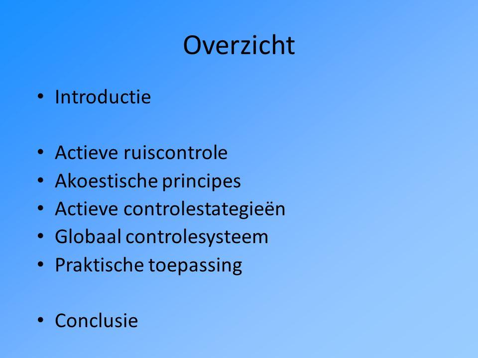 Overzicht Introductie Actieve ruiscontrole Akoestische principes Actieve controlestategieën Globaal controlesysteem Praktische toepassing Conclusie