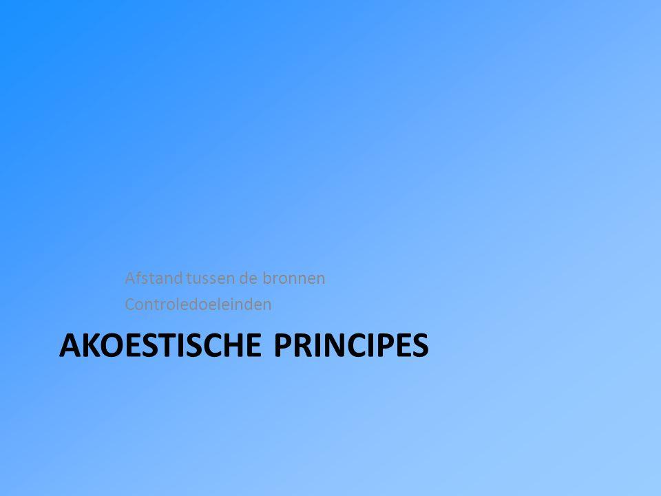 AKOESTISCHE PRINCIPES Afstand tussen de bronnen Controledoeleinden