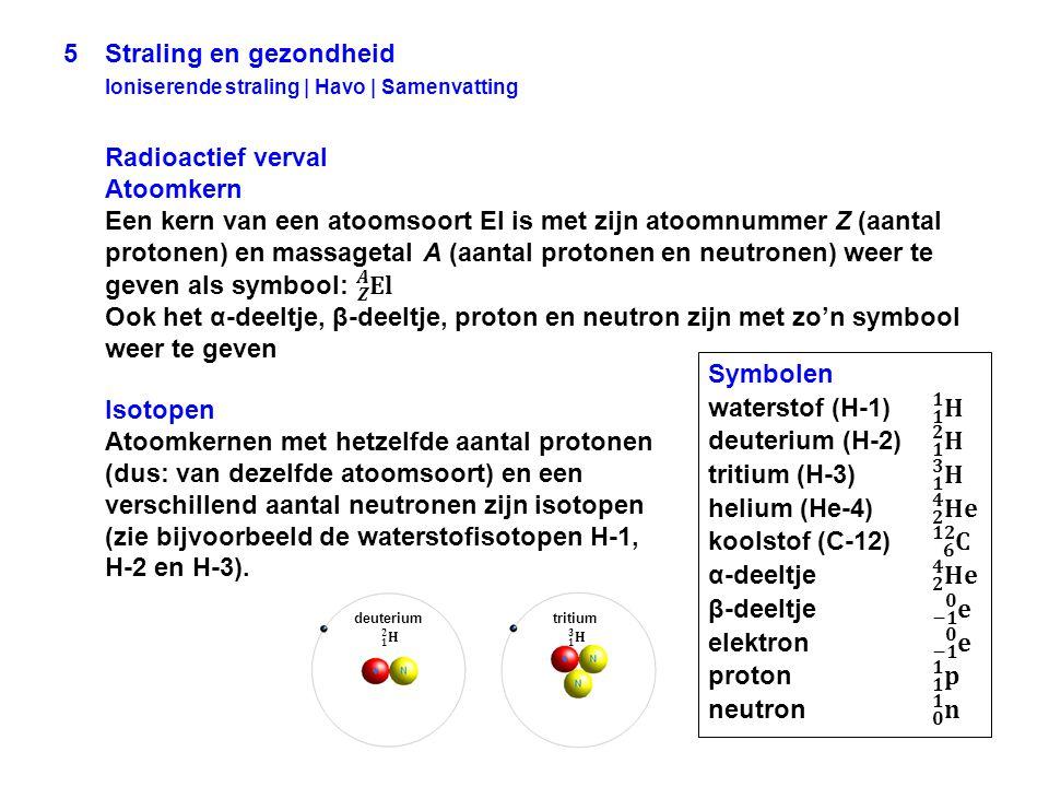 Isotopen Atoomkernen met hetzelfde aantal protonen (dus: van dezelfde atoomsoort) en een verschillend aantal neutronen zijn isotopen (zie bijvoorbeeld