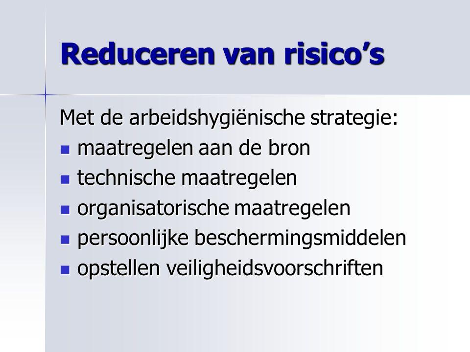 Reduceren van risico's Met de arbeidshygiënische strategie: maatregelen aan de bron maatregelen aan de bron technische maatregelen technische maatrege