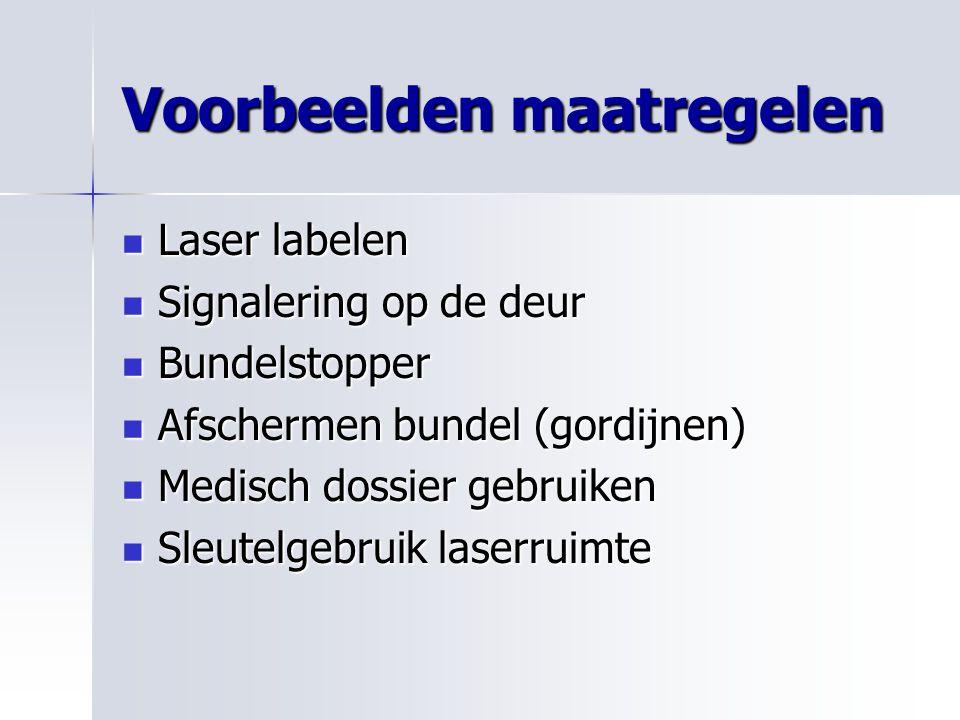 Voorbeelden maatregelen Laser labelen Laser labelen Signalering op de deur Signalering op de deur Bundelstopper Bundelstopper Afschermen bundel (gordi