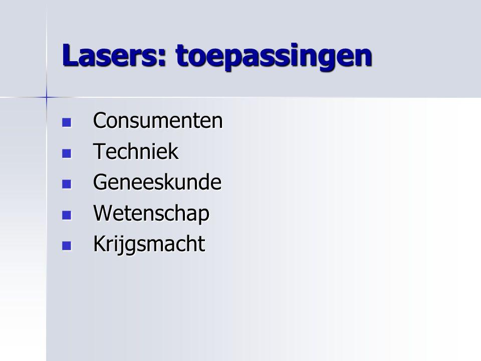 Lasers: toepassingen Consumenten Consumenten Techniek Techniek Geneeskunde Geneeskunde Wetenschap Wetenschap Krijgsmacht Krijgsmacht