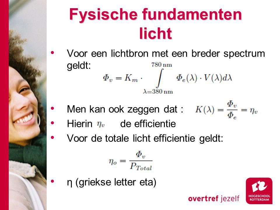 Fysische fundamenten licht Voor een lichtbron met een breder spectrum geldt: Men kan ook zeggen dat : Hierin is de efficientie Voor de totale licht efficientie geldt: η (griekse letter eta)